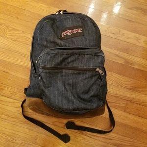 Jansport Backpack Blue Denim With Brown Suede